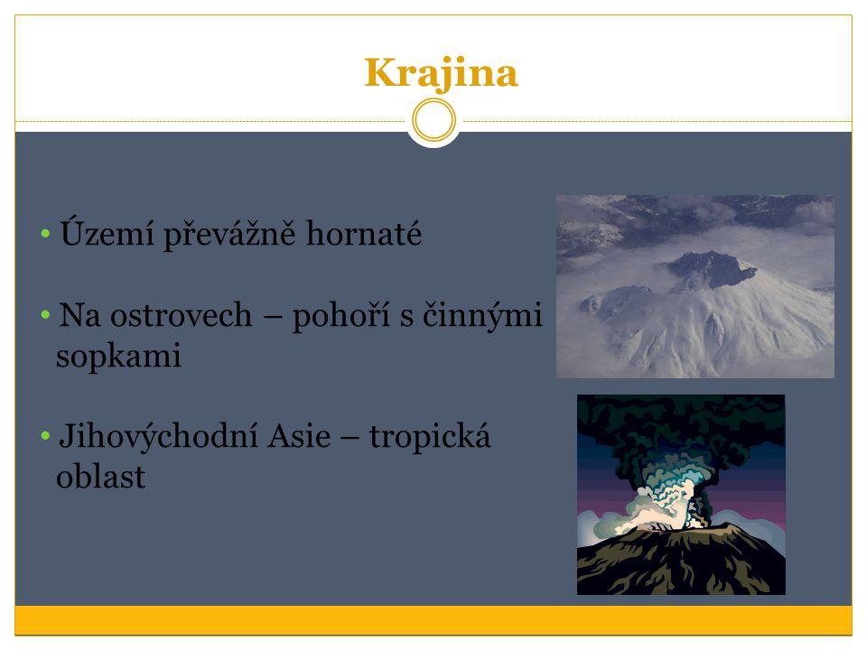 Krajina Území převážně hornaté Na ostrovech – pohoří s činnými sopkami Jihovýchodní Asie – tropická oblast