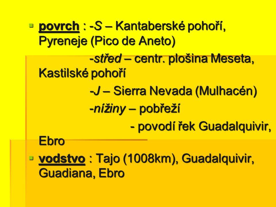  povrch : -S – Kantaberské pohoří, Pyreneje (Pico de Aneto) -střed – centr. plošina Meseta, Kastilské pohoří -střed – centr. plošina Meseta, Kastilsk