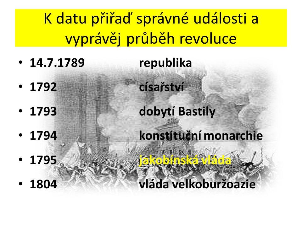 K datu přiřaď správné události a vyprávěj průběh revoluce 14.7.1789republika 1792císařství 1793dobytí Bastily 1794konstituční monarchie 1795jakobínská vláda 1804vláda velkoburžoazie