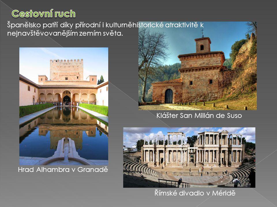 Španělsko patří díky přírodní i kulturněhistorické atraktivitě k nejnavštěvovanějším zemím světa. Hrad Alhambra v Granadě Klášter San Millán de Suso Ř