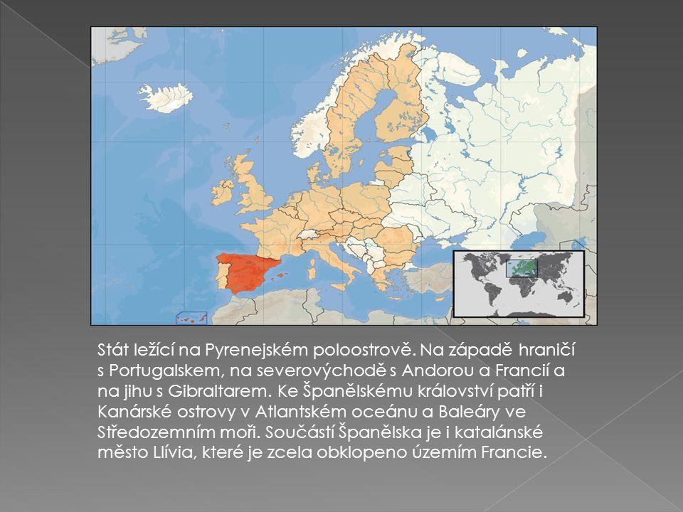 Stát ležící na Pyrenejském poloostrově. Na západě hraničí s Portugalskem, na severovýchodě s Andorou a Francií a na jihu s Gibraltarem. Ke Španělskému