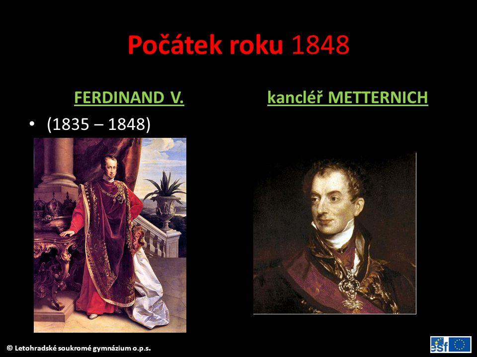 Počátek roku 1848 FERDINAND V. (1835 – 1848) kancléř METTERNICH