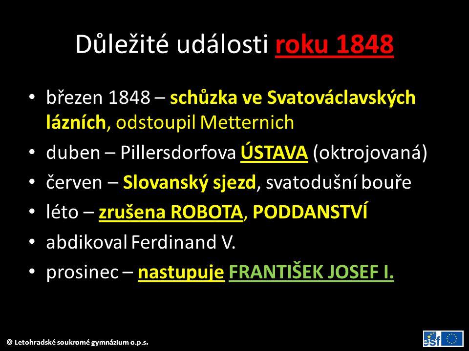 © Letohradské soukromé gymnázium o.p.s. Důležité události roku 1848 březen 1848 – schůzka ve Svatováclavských lázních, odstoupil Metternich duben – Pi