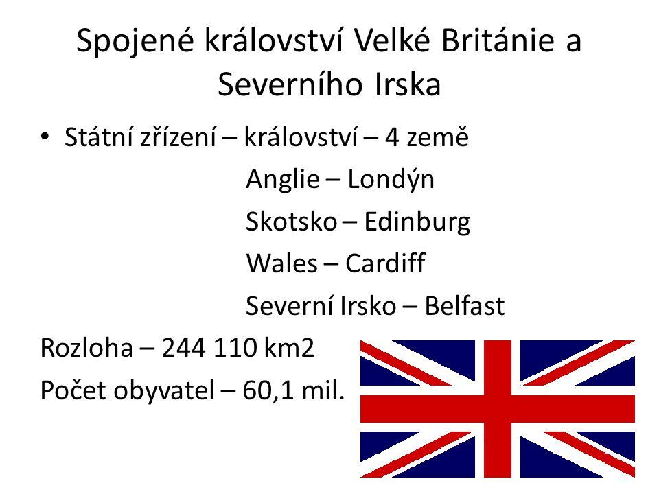 Spojené království Velké Británie a Severního Irska Státní zřízení – království – 4 země Anglie – Londýn Skotsko – Edinburg Wales – Cardiff Severní Irsko – Belfast Rozloha – 244 110 km2 Počet obyvatel – 60,1 mil.