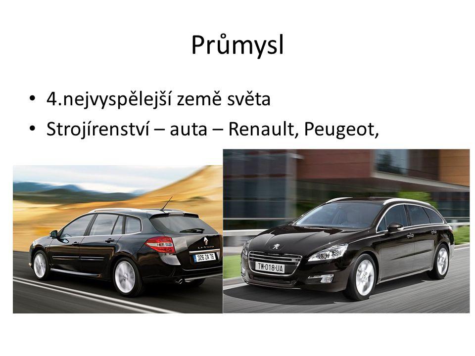 Průmysl 4.nejvyspělejší země světa Strojírenství – auta – Renault, Peugeot,