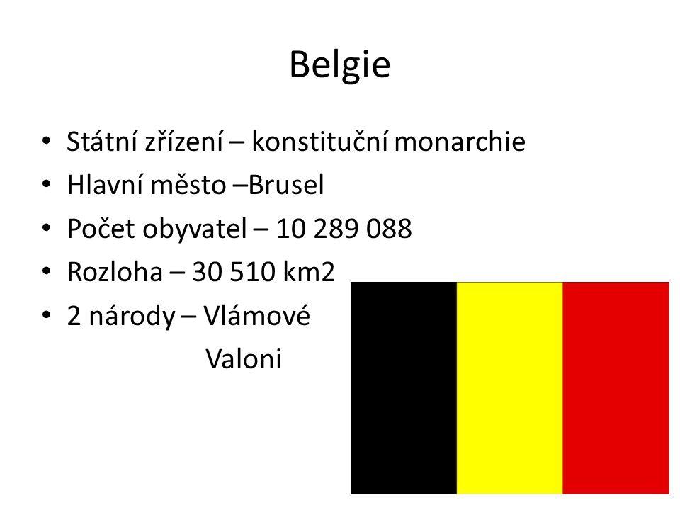 Belgie Státní zřízení – konstituční monarchie Hlavní město –Brusel Počet obyvatel – 10 289 088 Rozloha – 30 510 km2 2 národy – Vlámové Valoni