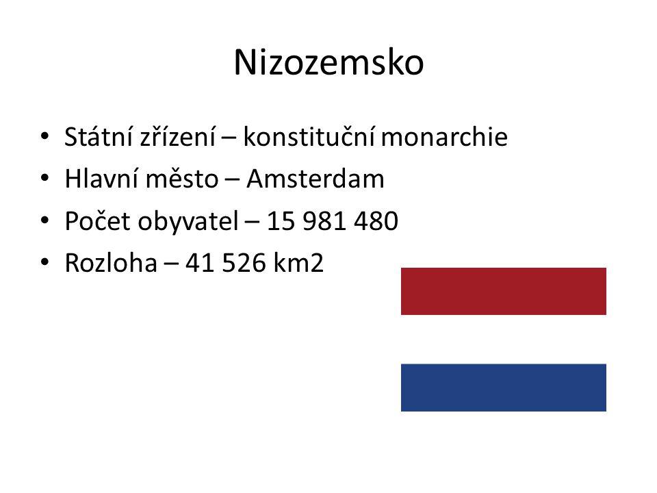 Nizozemsko Státní zřízení – konstituční monarchie Hlavní město – Amsterdam Počet obyvatel – 15 981 480 Rozloha – 41 526 km2