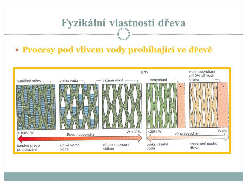 Fyzikální vlastnosti dřeva Mokré dřevo má vlhkost blížící se ke 100% přičemž záleží na stáří stromu Vzduchosuché dřevo má vlhkost asi 15 – 20% je to přirozeně vysušené dřevo Suché dřevo má uměle korigovanou vlhkost a to podle použití v rozsahu 6 – 12% BNV je to bod nasycení dřevních vláken, dřevo obsahuje nejvíce vázané vody, nulové množství volné vody a vlhkost se pohybuje v rozmezí 25 – 35%