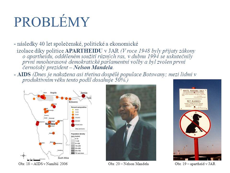 PROBLÉMY - následky 40 let společenské, politické a ekonomické izolace díky politice APARTHEIDU v JAR (V roce 1948 byly přijaty zákony o apartheidu, o