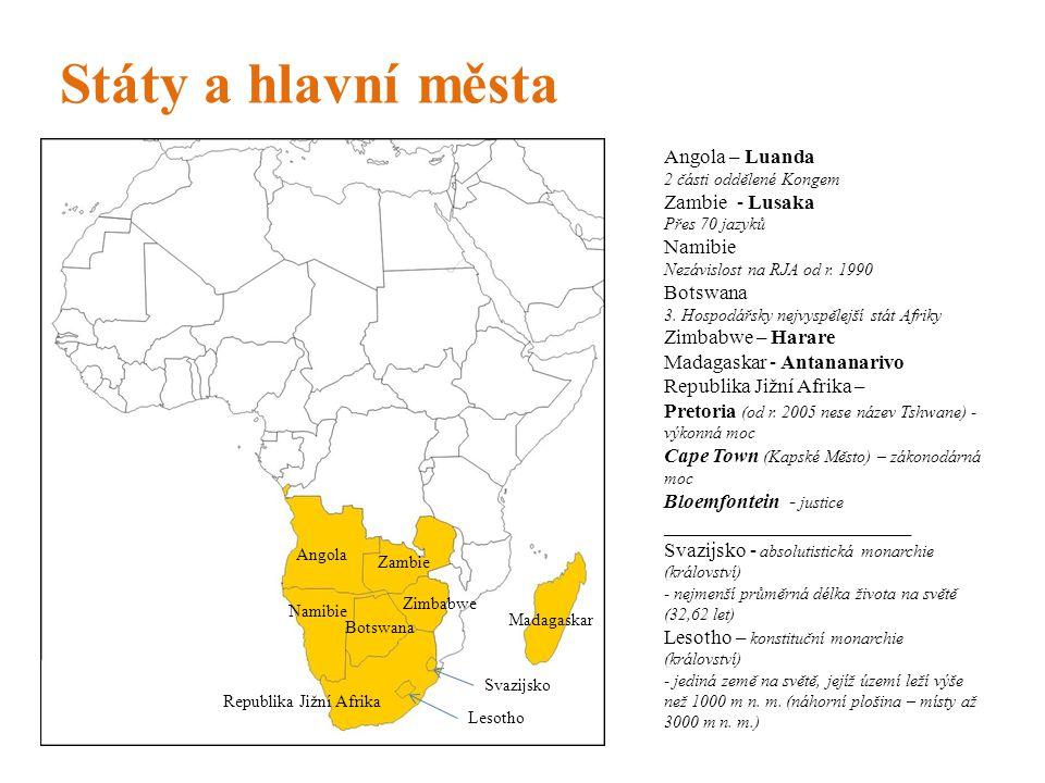 Státy a hlavní města Angola – Luanda 2 části oddělené Kongem Zambie - Lusaka Přes 70 jazyků Namibie Nezávislost na RJA od r. 1990 Botswana 3. Hospodář
