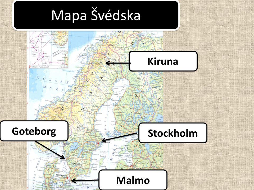 Mapa Švédska Kiruna Malmo Goteborg Stockholm