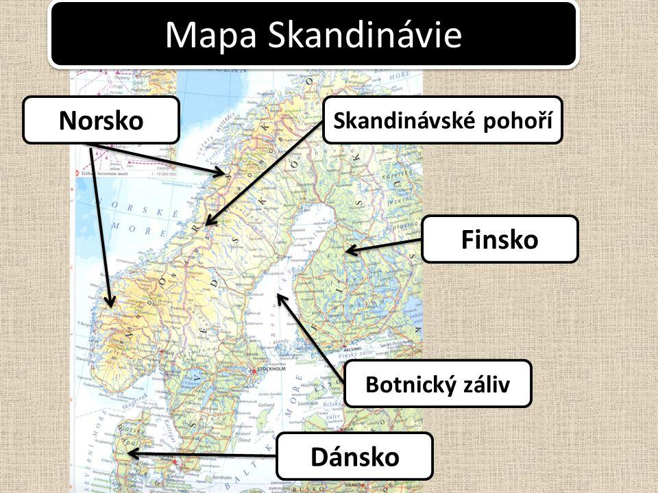 Mapa Skandinávie Skandinávské pohoří Botnický záliv Norsko Finsko Dánsko