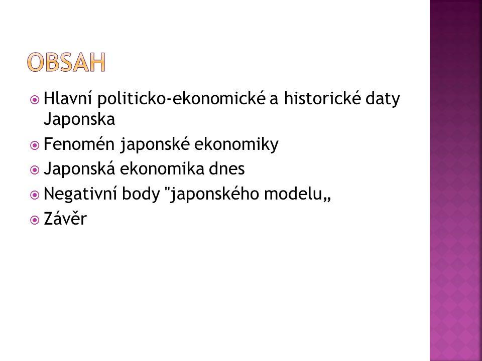  Hlavní politicko-ekonomické a historické daty Japonska  Fenomén japonské ekonomiky  Japonská ekonomika dnes  Negativní body