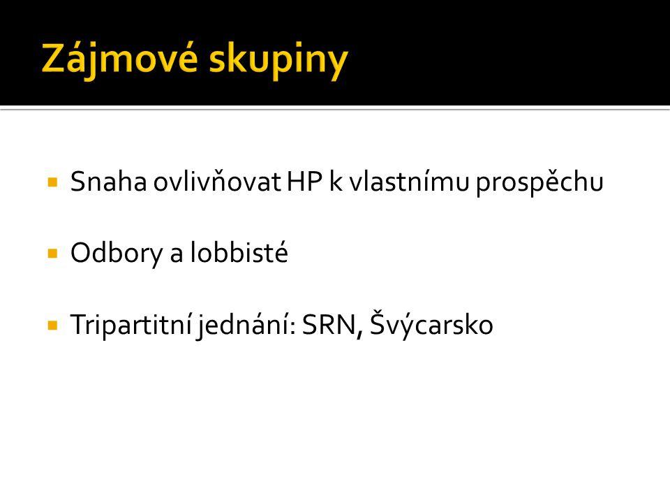  Snaha ovlivňovat HP k vlastnímu prospěchu  Odbory a lobbisté  Tripartitní jednání: SRN, Švýcarsko