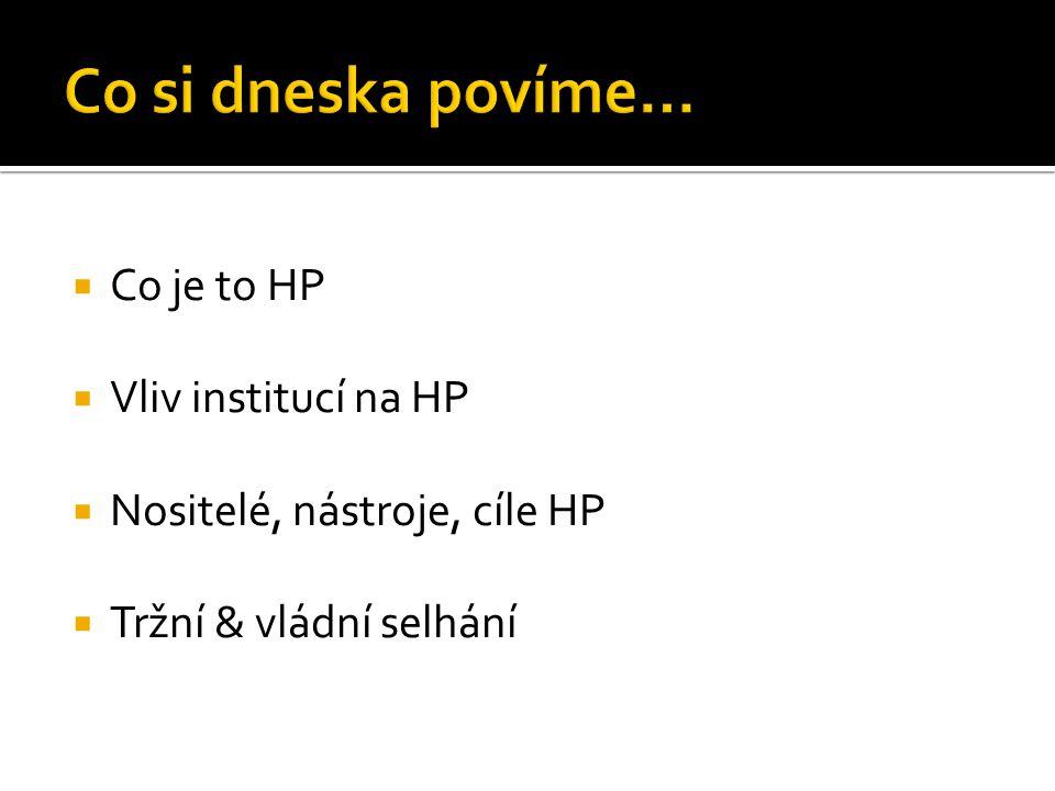  Co je to HP  Vliv institucí na HP  Nositelé, nástroje, cíle HP  Tržní & vládní selhání