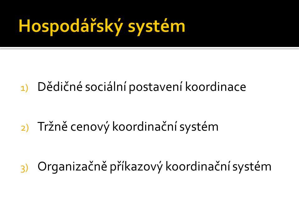 1) Dědičné sociální postavení koordinace 2) Tržně cenový koordinační systém 3) Organizačně příkazový koordinační systém