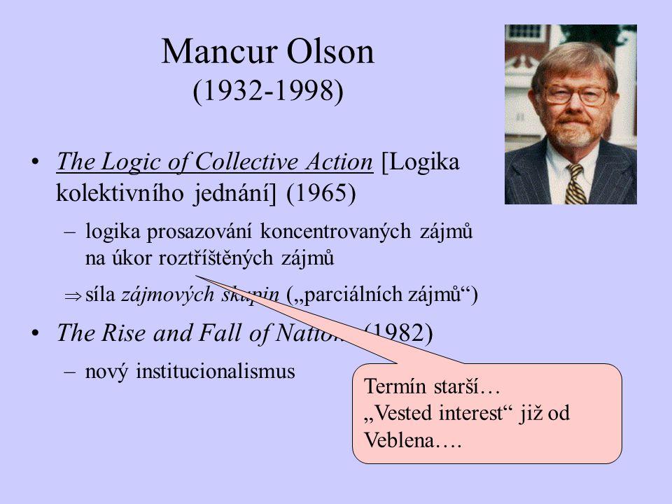 The Logic of Collective Action [Logika kolektivního jednání] (1965) –logika prosazování koncentrovaných zájmů na úkor roztříštěných zájmů  síla zájmo
