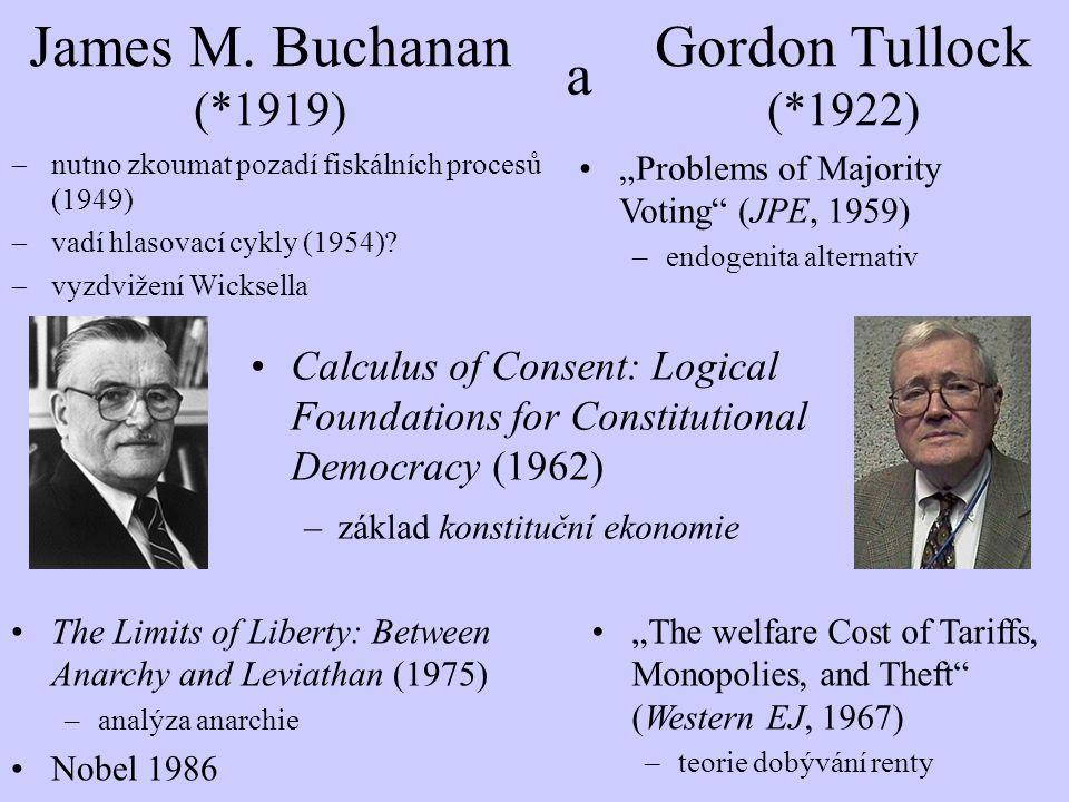 """Calculus of Consent: Logical Foundations for Constitutional Democracy [Výpočet souhlasu: logické základy ústavní demokracie] (1962) -odlišení běžné politiky (""""ordinary politics ) od ústavodárné politiky (""""constitutional politics )  rozdílné mechanismy: jednohlasnost vs."""