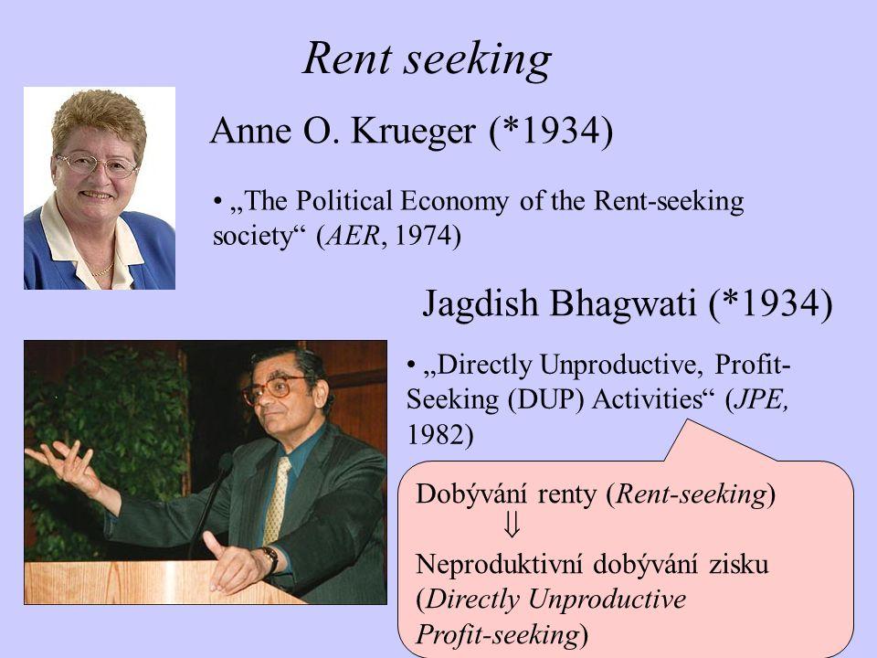 Dobývání renty (Rent-seeking)  Neproduktivní dobývání zisku (Directly Unproductive Profit-seeking) Rent seeking Anne O. Krueger (*1934) Jagdish Bhagw