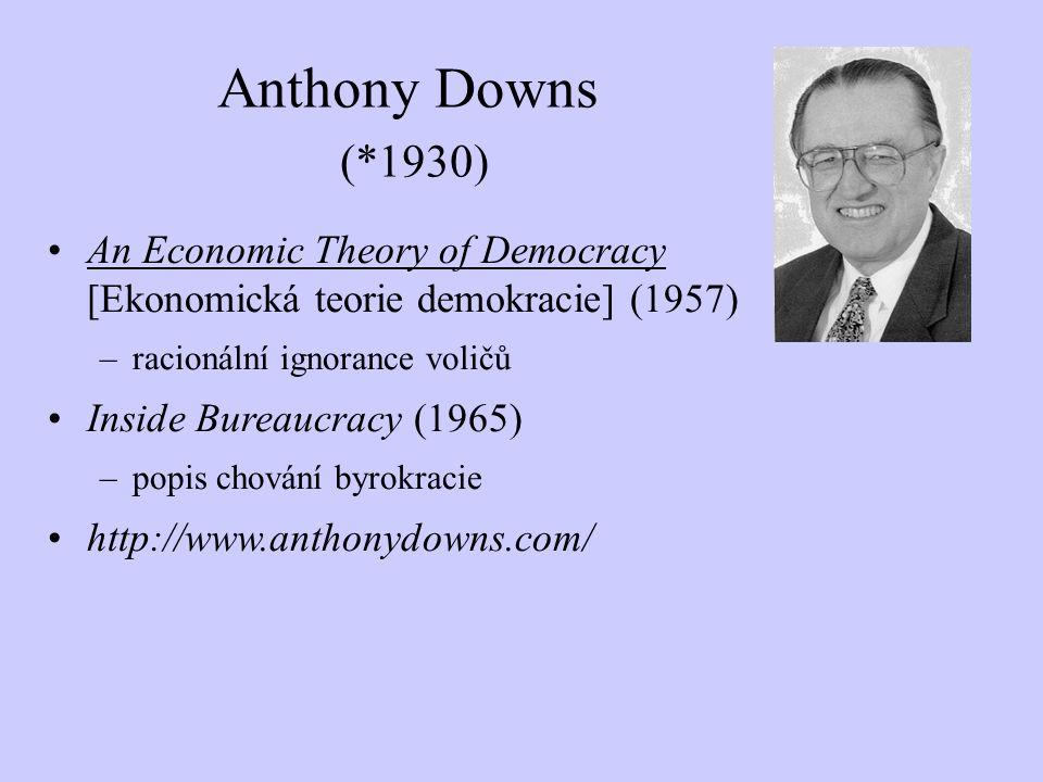 An Economic Theory of Democracy [Ekonomická teorie demokracie] (1957) –racionální ignorance voličů Inside Bureaucracy (1965) –popis chování byrokracie