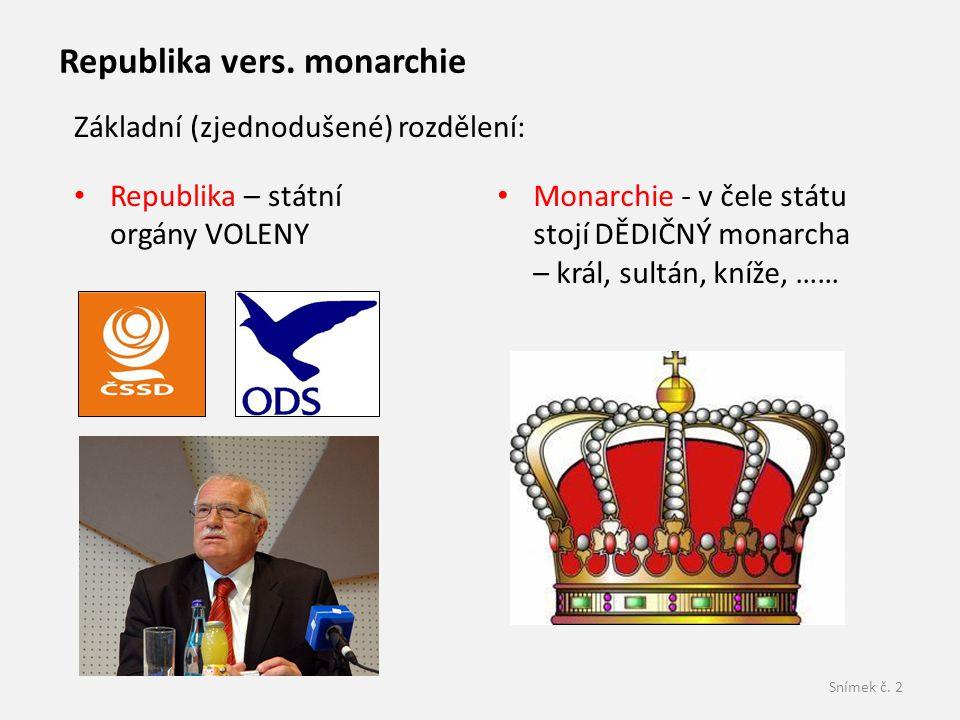 Snímek č. 2 Republika – státní orgány VOLENY Republika vers. monarchie Monarchie - v čele státu stojí DĚDIČNÝ monarcha – král, sultán, kníže, …… Zákla