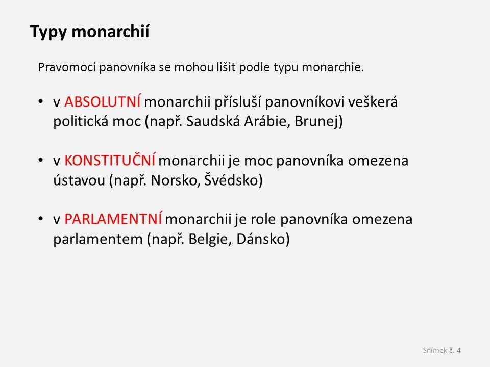 Snímek č. 4 Pravomoci panovníka se mohou lišit podle typu monarchie. v ABSOLUTNÍ monarchii přísluší panovníkovi veškerá politická moc (např. Saudská A