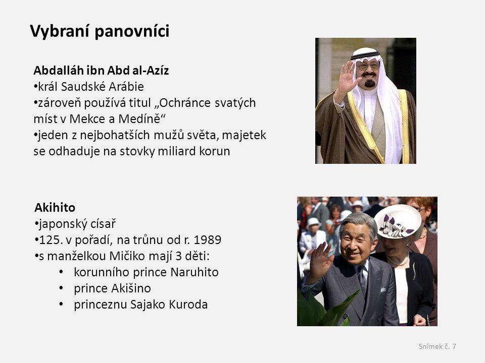 """Snímek č. 7 Abdalláh ibn Abd al-Azíz král Saudské Arábie zároveň používá titul """"Ochránce svatých míst v Mekce a Medíně"""" jeden z nejbohatších mužů svět"""