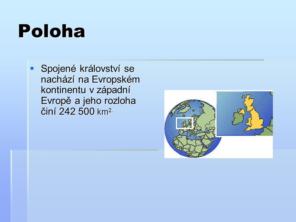 Poloha  Spojené království se nachází na Evropském kontinentu v západní Evropě a jeho rozloha činí 242 500 km 2.