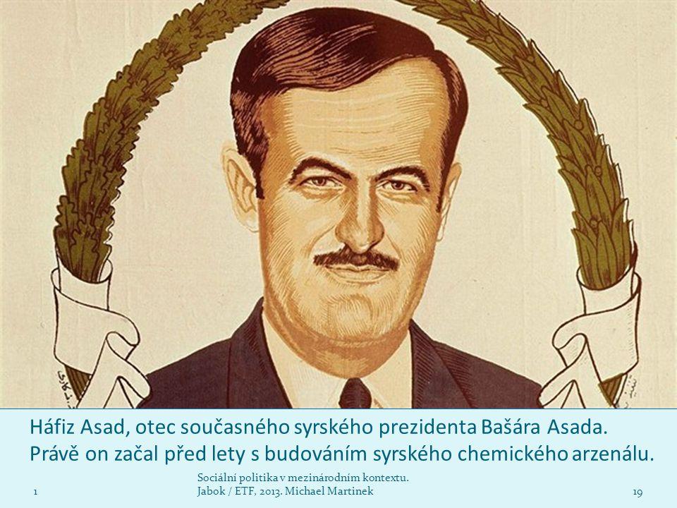 Háfiz Asad, otec současného syrského prezidenta Bašára Asada. Právě on začal před lety s budováním syrského chemického arzenálu. 1 Sociální politika v