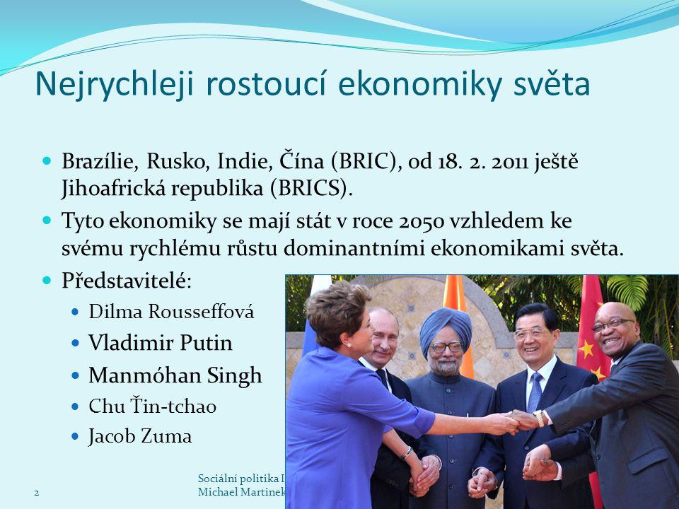 Nejrychleji rostoucí ekonomiky světa Brazílie, Rusko, Indie, Čína (BRIC), od 18. 2. 2011 ještě Jihoafrická republika (BRICS). Tyto ekonomiky se mají s