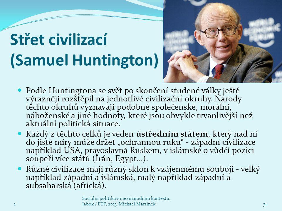 Střet civilizací (Samuel Huntington) 1 Sociální politika v mezinárodním kontextu. Jabok / ETF, 2013. Michael Martinek34 Podle Huntingtona se svět po s