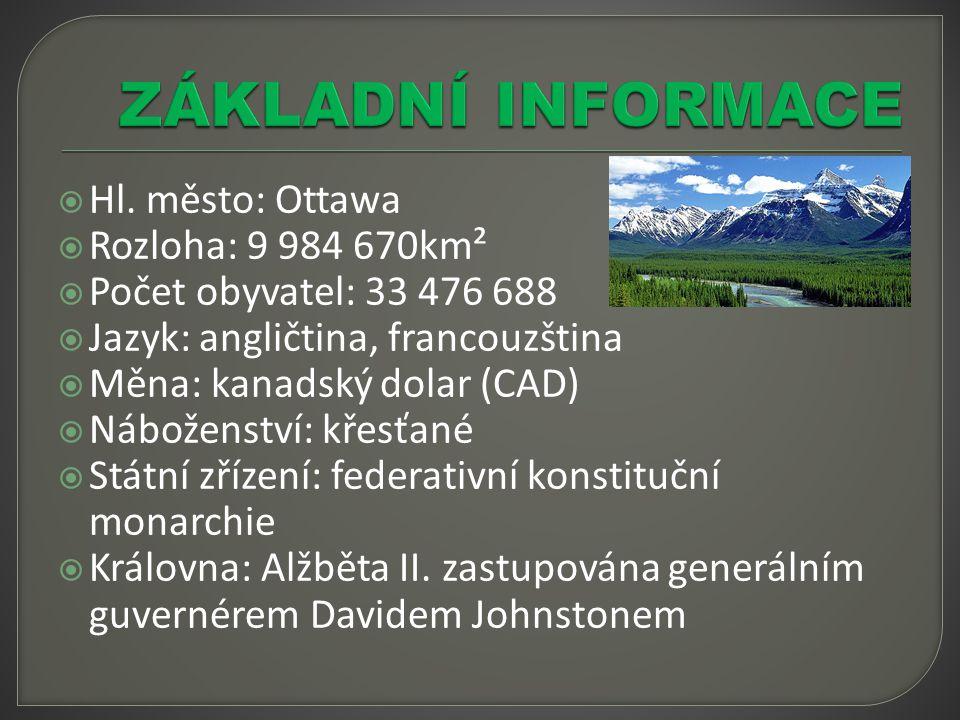  Hl. město: Ottawa  Rozloha: 9 984 670km²  Počet obyvatel: 33 476 688  Jazyk: angličtina, francouzština  Měna: kanadský dolar (CAD)  Náboženství