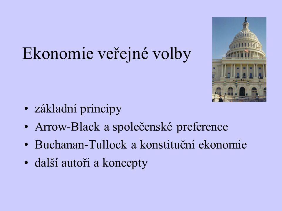 Ekonomie veřejné volby základní principy Arrow-Black a společenské preference Buchanan-Tullock a konstituční ekonomie další autoři a koncepty
