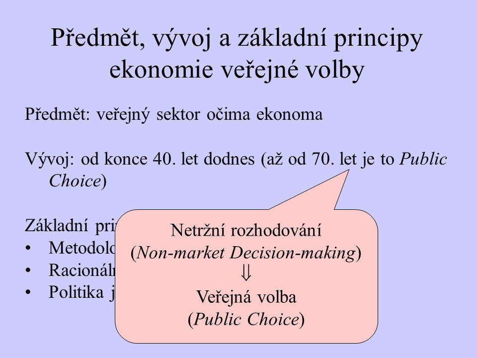 Předmět, vývoj a základní principy ekonomie veřejné volby Předmět: veřejný sektor očima ekonoma Vývoj: od konce 40.