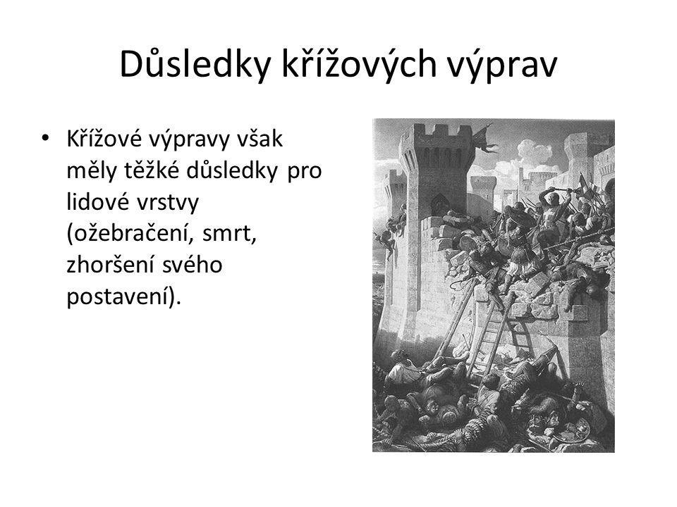 Důsledky křížových výprav Křížové výpravy však měly těžké důsledky pro lidové vrstvy (ožebračení, smrt, zhoršení svého postavení).