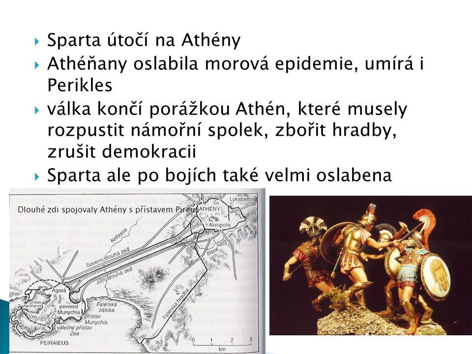  Sparta útočí na Athény  Athéňany oslabila morová epidemie, umírá i Perikles  válka končí porážkou Athén, které musely rozpustit námořní spolek, zbořit hradby, zrušit demokracii  Sparta ale po bojích také velmi oslabena Dlouhé zdi spojovaly Athény s přístavem Pireus