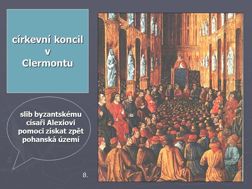 """3. Kdy byly křížové výpravy papežem vyhlášeny? ► Roku 1085 ► Roku 1095 ► Roku 1099 """"Bůh to chce."""" 7. velmi emotivní proslov v Clermontu obdrželi dřevě"""
