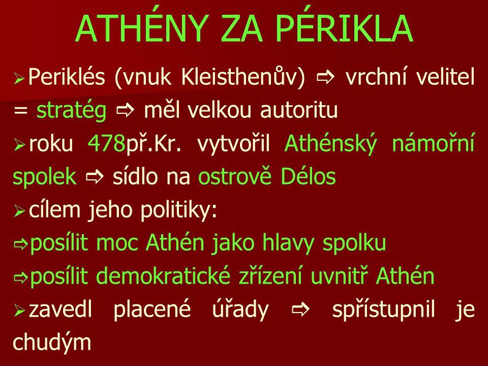 ATHÉNY ZA PÉRIKLA   Periklés (vnuk Kleisthenův)  vrchní velitel = stratég  měl velkou autoritu   roku 478př.Kr.
