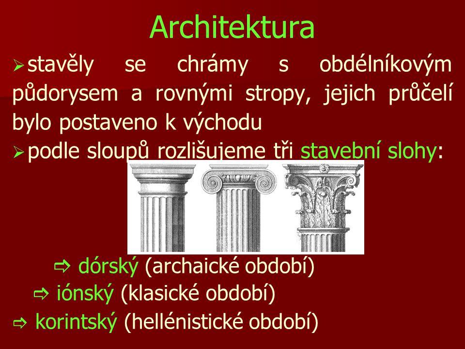Architektura   stavěly se chrámy s obdélníkovým půdorysem a rovnými stropy, jejich průčelí bylo postaveno k východu   podle sloupů rozlišujeme tři stavební slohy:   dórský (archaické období)   iónský (klasické období)   korintský (hellénistické období)