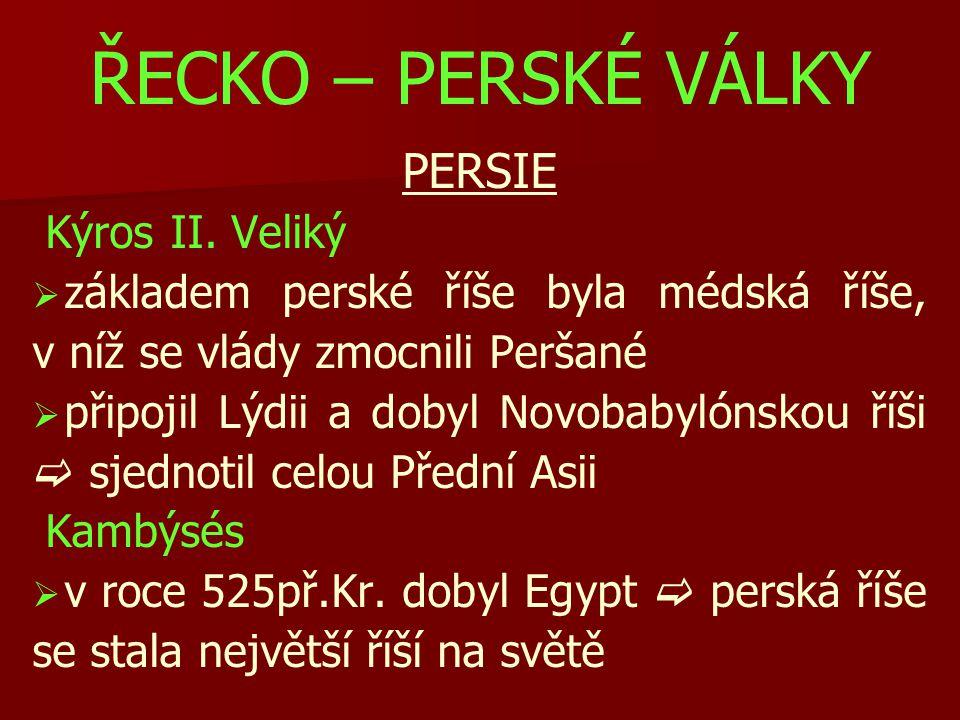 ŘECKO – PERSKÉ VÁLKY PERSIE Kýros II.