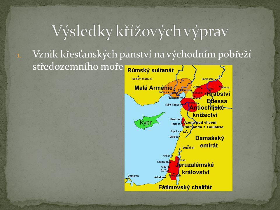 1. Vznik křesťanských panství na východním pobřeží středozemního moře