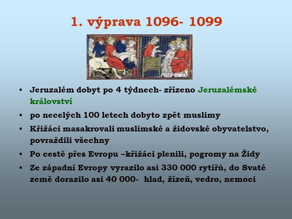 1. výprava 1096- 1099 Jeruzalém dobyt po 4 týdnech- zřízeno Jeruzalémské království po necelých 100 letech dobyto zpět muslimy Křižáci masakrovali mus