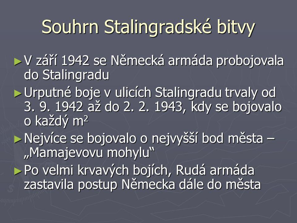 Souhrn Stalingradské bitvy ► V září 1942 se Německá armáda probojovala do Stalingradu ► Urputné boje v ulicích Stalingradu trvaly od 3. 9. 1942 až do