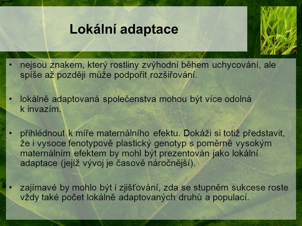 Lokální adaptace nejsou znakem, který rostliny zvýhodní během uchycování, ale spíše až později může podpořit rozšiřování. lokálně adaptovaná společens