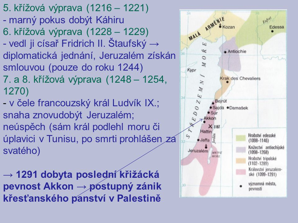 5. křížová výprava (1216 – 1221) - marný pokus dobýt Káhiru 6. křížová výprava (1228 – 1229) - vedl ji císař Fridrich II. Štaufský → diplomatická jedn
