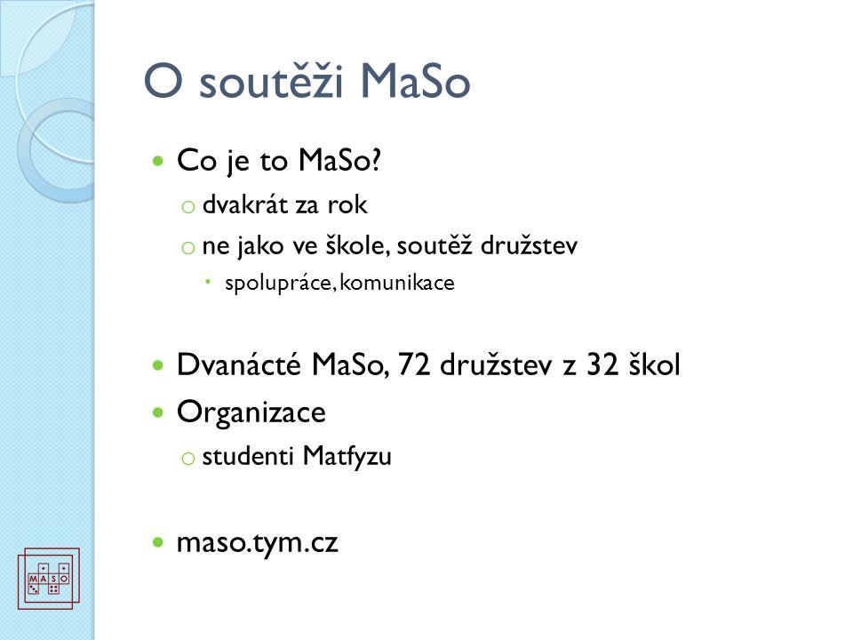 O soutěži MaSo Co je to MaSo? o dvakrát za rok o ne jako ve škole, soutěž družstev  spolupráce, komunikace Dvanácté MaSo, 72 družstev z 32 škol Organ