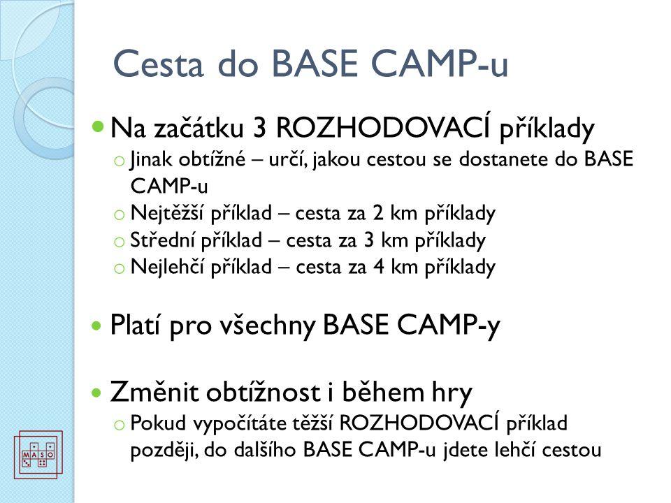 Cesta do BASE CAMP-u Na začátku 3 ROZHODOVACÍ příklady o Jinak obtížné – určí, jakou cestou se dostanete do BASE CAMP-u o Nejtěžší příklad – cesta za 2 km příklady o Střední příklad – cesta za 3 km příklady o Nejlehčí příklad – cesta za 4 km příklady Platí pro všechny BASE CAMP-y Změnit obtížnost i během hry o Pokud vypočítáte těžší ROZHODOVACÍ příklad později, do dalšího BASE CAMP-u jdete lehčí cestou