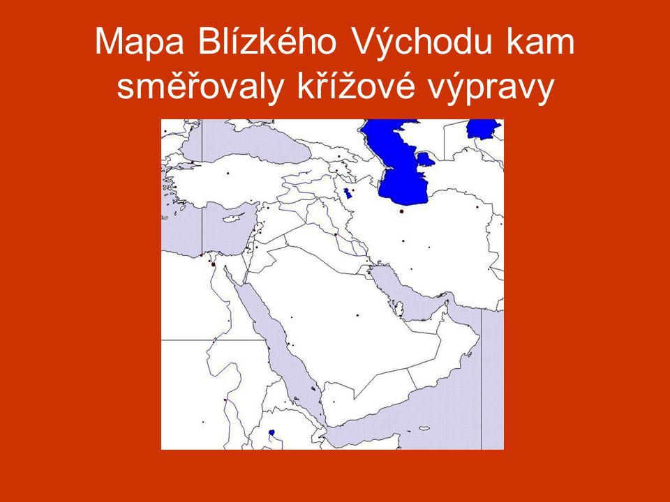 Mapa Blízkého Východu kam směřovaly křížové výpravy