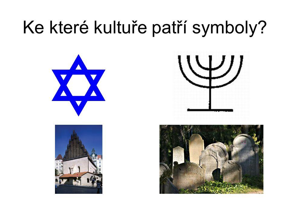 Židovská kultura Davidova hvězda Sedmiramenný svícen Synagoga Židovský hřbitov