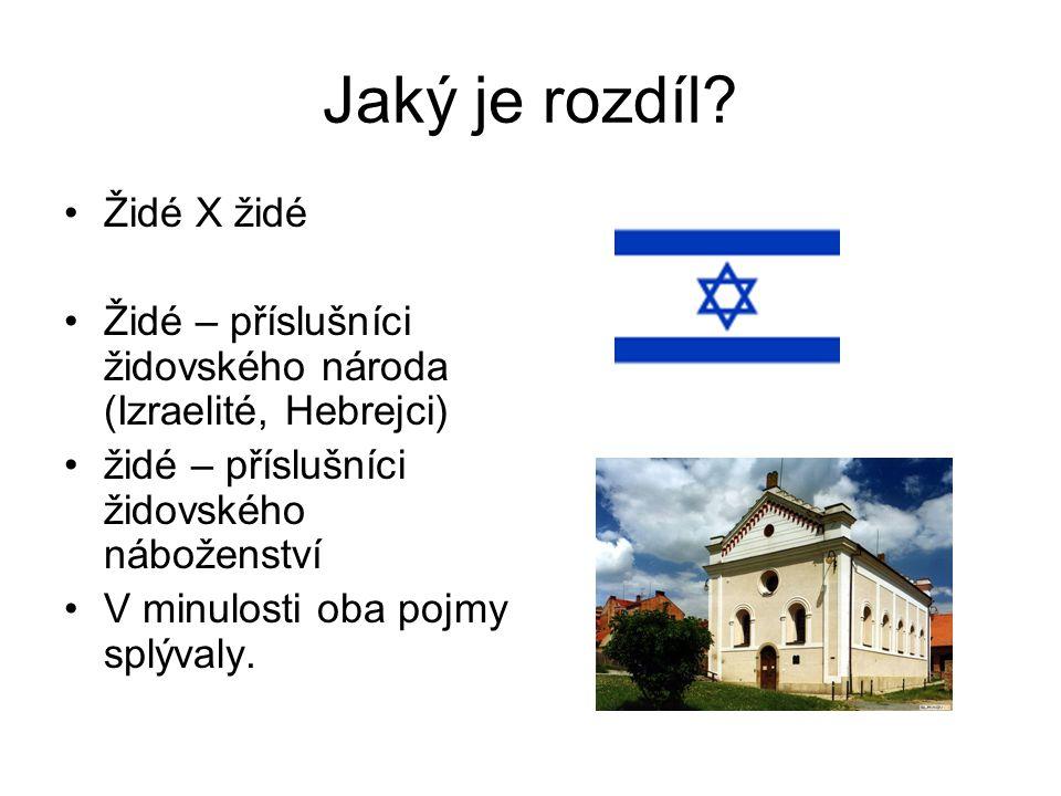 Jaký je rozdíl? Židé X židé Židé – příslušníci židovského národa (Izraelité, Hebrejci) židé – příslušníci židovského náboženství V minulosti oba pojmy